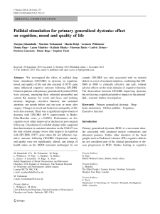 Pallidal stimulation for primary generalised dystonia: effect