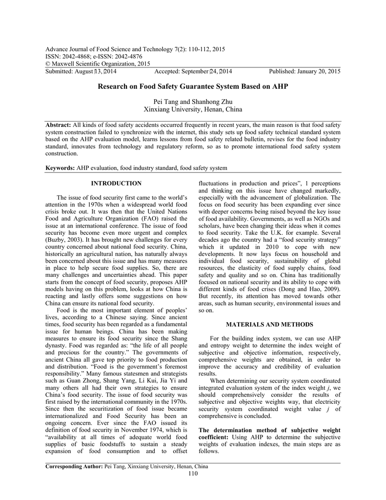 Advance Journal Of Food Science And Technology 7 2 110 112 2015