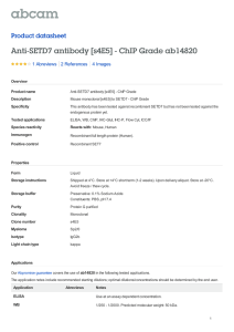 Anti-SETD7 antibody [s4E5] - ChIP Grade ab14820 Product datasheet 1 Abreviews 4 Images