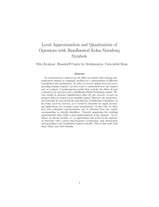 Local Approximation and Quantization of Operators with Bandlimited Kohn-Nirenberg Symbols