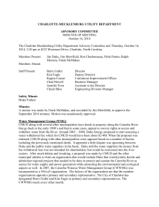 CHARLOTTE-MECKLENBURG UTILITY DEPARTMENT ADVISORY COMMITTEE MINUTES OF MEETING