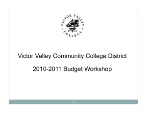 Victor Valley Community College District 2010-2011 Budget Workshop 1
