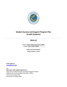 Student Success and Support Program Plan (Credit Students) 2014-15