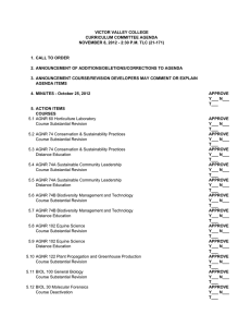 VICTOR VALLEY COLLEGE CURRICULUM COMMITTEE AGENDA 1. CALL TO ORDER