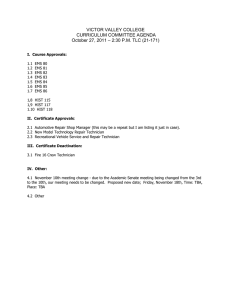 VICTOR VALLEY COLLEGE CURRICULUM COMMITTEE AGENDA