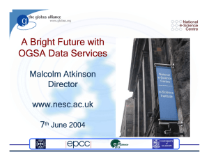 A Bright Future with OGSA Data Services Malcolm Atkinson Director