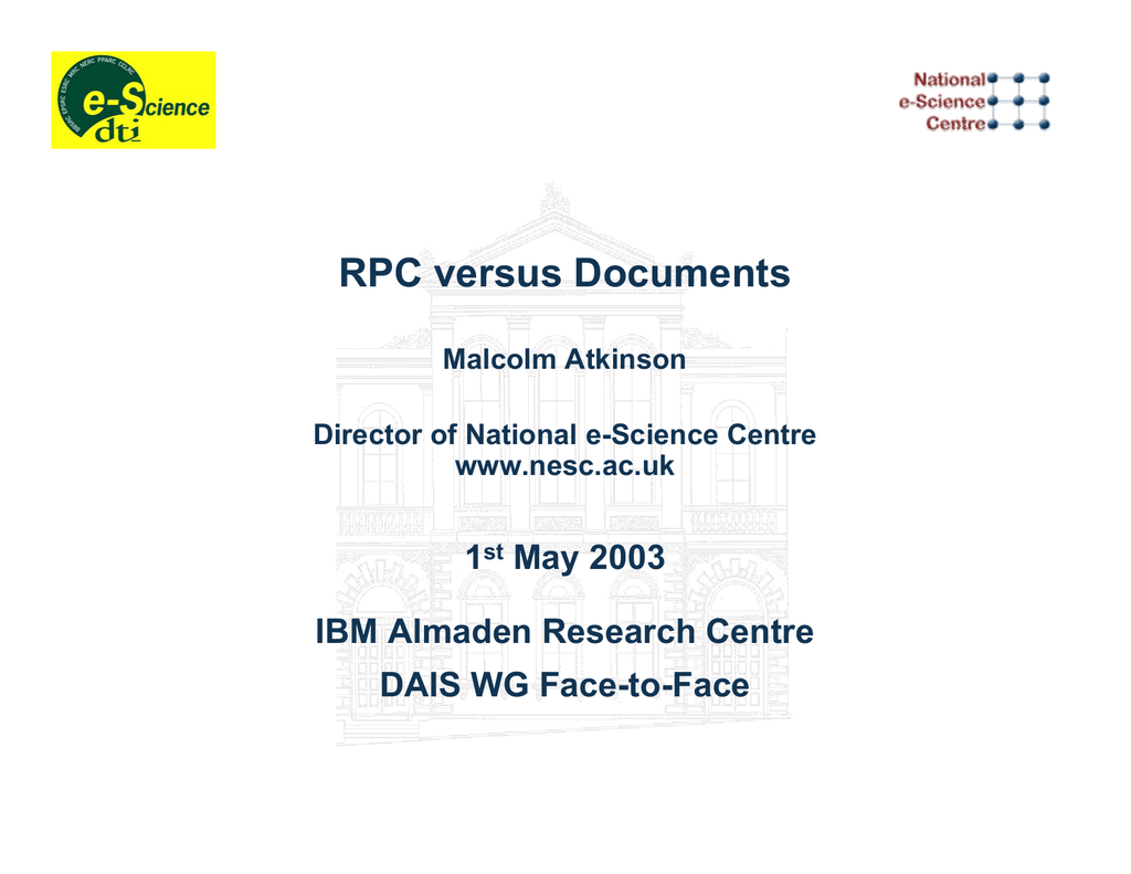 RPC versus Documents 1 May 2003 IBM Almaden Research Centre