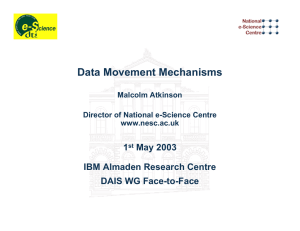 Data Movement Mechanisms 1 May 2003 IBM Almaden Research Centre