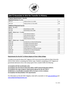 (AA-T) Associate in Arts for Transfer in History  Required Courses