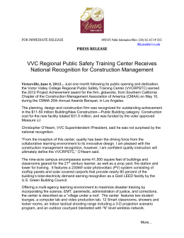 VVC Regional Public Safety Training Center Receives PRESS RELEASE
