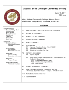 Citizens' Bond Oversight Committee Meeting June 15, 2011 1:30 p.m.