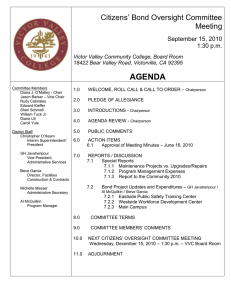 AGENDA Citizens' Bond Oversight Committee Meeting September 15, 2010