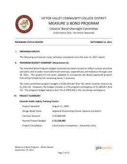 MEASURE JJ BOND PROGRAM VICTOR VALLEY COMMUNITY COLLEGE DISTRICT