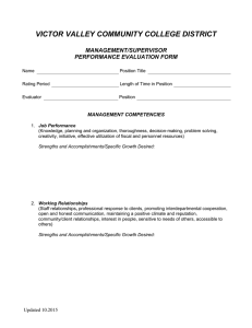 VICTOR VALLEY COMMUNITY COLLEGE DISTRICT  MANAGEMENT/SUPERVISOR PERFORMANCE EVALUATION FORM