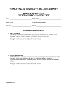 VICTOR VALLEY COMMUNITY COLLEGE DISTRICT  MANAGEMENT/SUPERVISOR PERFORMANCE SELF-EVALUATION FORM