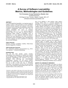 A Survey of Software Learnability: Metrics, Methodologies and Guidelines
