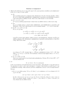 Solutions to Assignment 9