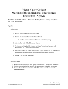Victor Valley College Meeting of the Institutional Effectiveness Committee- Agenda