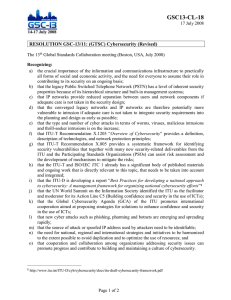 GSC13-CL-18 RESOLUTION GSC-13/11: (GTSC) Cybersecurity (Revised)