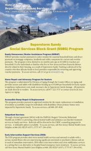 Superstorm Sandy Social Services Block Grant (SSBG) Program Department of Human Services