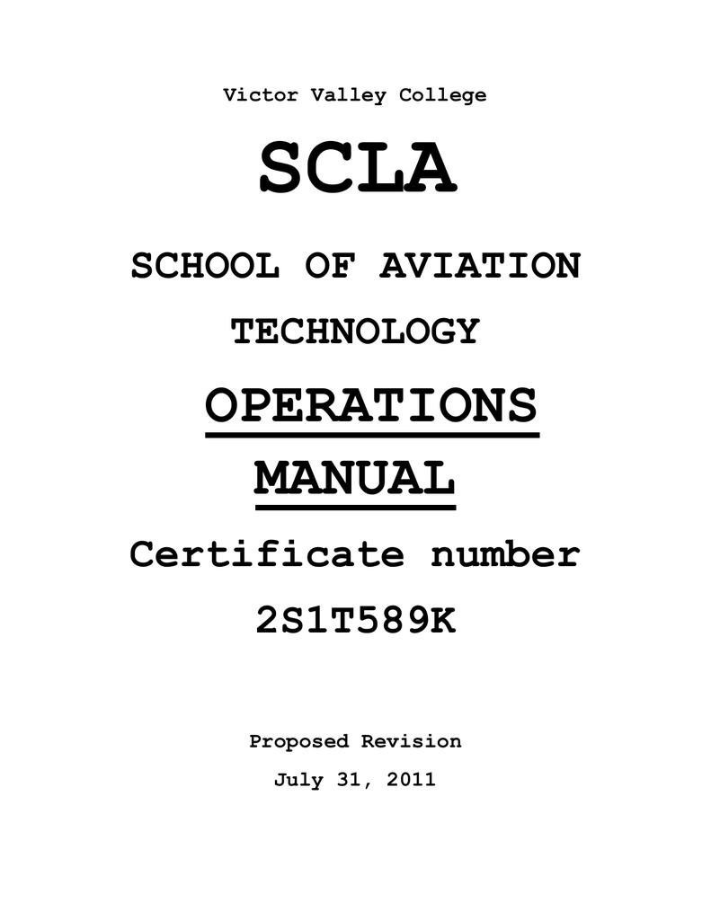SCLA OPERATIONS MANUAL