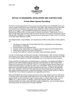 NOTICE TO ENGINEERS, DEVELOPERS AND CONTRACTORS Private Water System Permitting