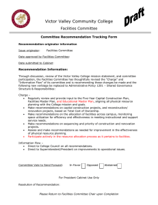 Victor Valley Community College Facilities Committee  Committee Recommendation Tracking Form