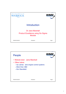Introduction People Dr Jane Marshall Product Excellence using Six Sigma