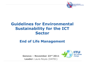 Guidelines for Environmental Sustainability for the ICT Sector End of Life Management