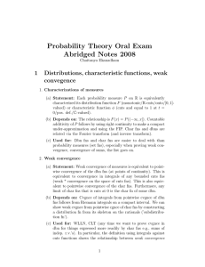 Probability Theory Oral Exam Abridged Notes 2008 1 Distributions, characteristic functions, weak