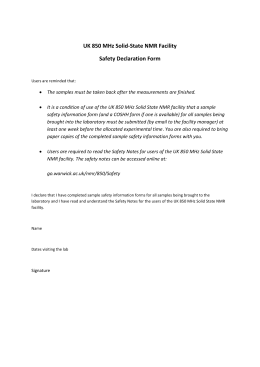 UK 850 MHz Solid-State NMR Facility Safety Declaration Form