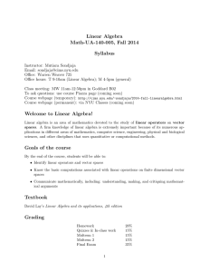 Linear Algebra Math-UA-140-005, Fall 2014 Syllabus