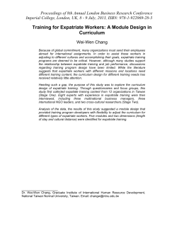 Training for Expatriate Workers: A Module Design in Curriculum Wei-Wen Chang