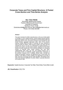 Corporate Taxes and Firm Capital Structure: A Pooled Abu Taher Mollik