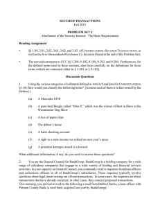 SECURED TRANSACTIONS PROBLEM SET 2 Reading Assignment Fall 2015