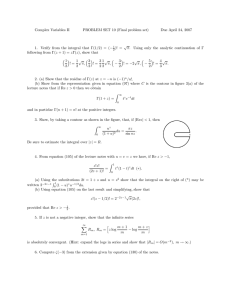 Complex Variables II PROBLEM SET 10 (Final problem set) √