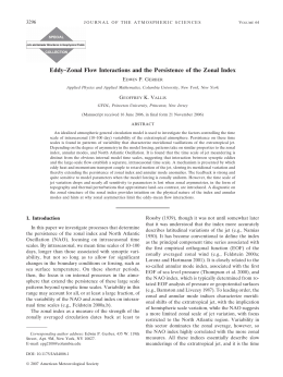 Eddy–Zonal Flow Interactions and the Persistence of the Zonal Index 3296 E