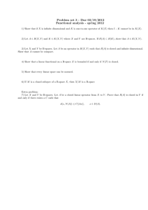 Problem set 3 - Due 03/19/2012 Functional analysis - spring 2012