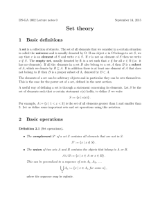 Set theory 1 Basic definitions