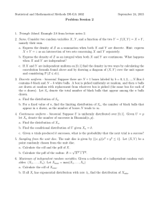 Statistical and Mathematical Methods DS-GA 1002 September 24, 2015 Problem Session 2