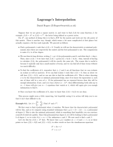 Lagrange's Interpolation Daniel Rogers ()