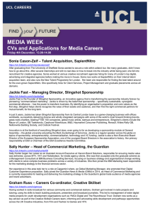 MEDIA WEEK  CVs and Applications for Media Careers – Talent Acquisition, SapientNitro