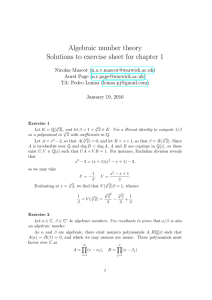 Algebraic number theory Solutions to exercise sheet for chapter 1 () ()