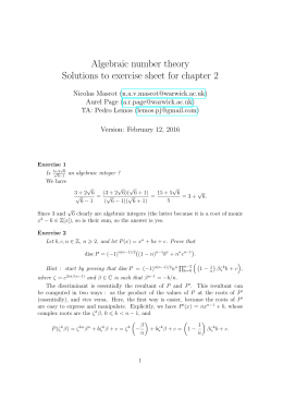 Algebraic number theory Solutions to exercise sheet for chapter 2 () ()