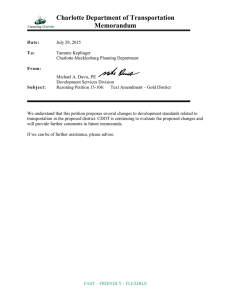 Charlotte Department of Transportation Memorandum