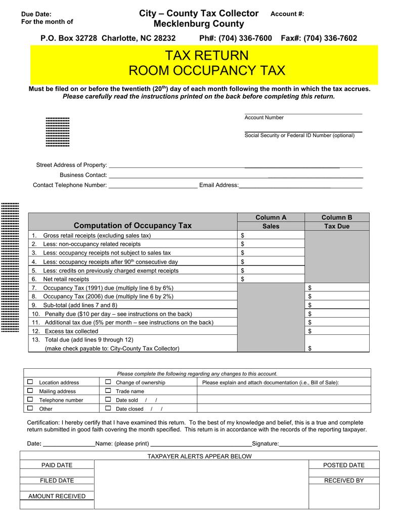 Charlotte Nc Sales Tax >> Tax Return Room Occupancy Tax City County Tax Collector
