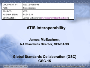 ATIS Interoperability James McEachern, Global Standards Collaboration (GSC) GSC-15