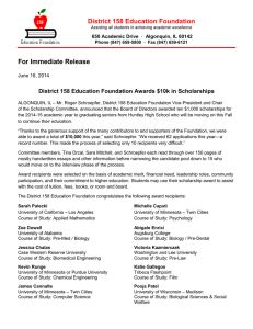 District 158 Education Foundation For Immediate Release