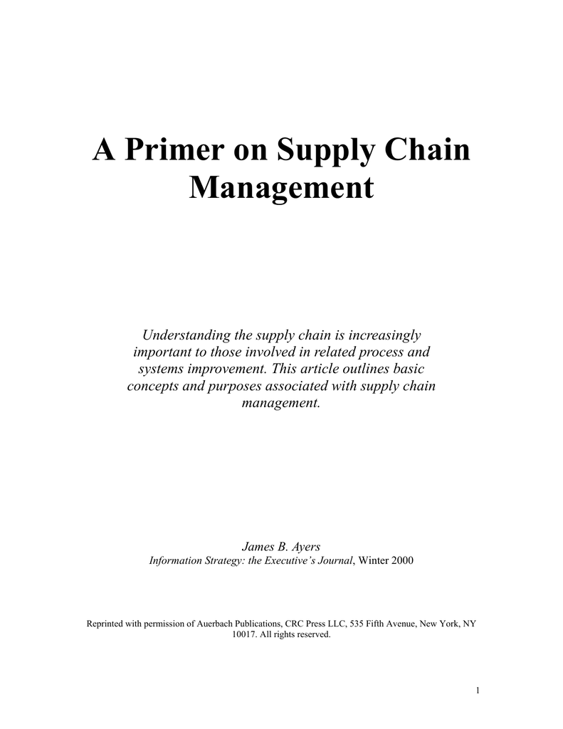 A Primer on Supply Chain Management
