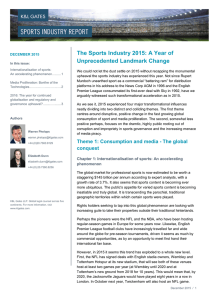 The Sports Industry 2015: A Year of Unprecedented Landmark Change